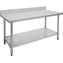 2400-7-WBB Economic 304 Grade Stainless Steel Table with Splash Back 2400mm W x 700 D x 900 H