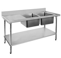 1500-6-DSBR Economic 304 Grade SS Right Double Sink Bench 1500x600x900 with 400 and 500x40