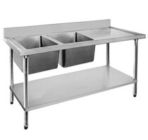 1500-6-DSBL Economic 304 Grade SS Left Double Sink Bench 1500x600x900 with 400 and 500x400