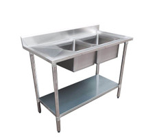 1800-6-DSBR Economic 304 Grade SS Right Double Sink Bench 1800mm Wx600Dx900H with two 610x400x25