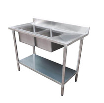 1800-6-DSBL Economic 304 Grade SS Left Double Sink Bench 1800x600x900 with two 610x400x250