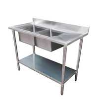 1500-7-DSBL Economic 304 Grade SS Left Double Sink Bench 1500mm Width x700x900 with 500x400x250 sin