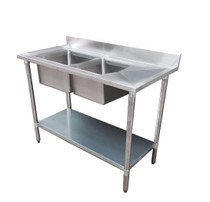 1800-7-DSBL Economic 304 Grade SS Left Double Sink Bench 1800x700x900 with two 610x400x250