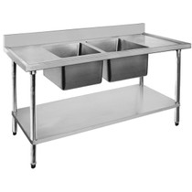 2400-7-DSBC Economic 304 Grade SS Centre Double Sink Bench 2400mmW x 700 D x 900 H with two 610x400x2