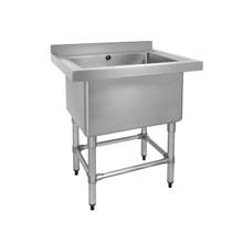 770-6-SSB Stainless Steel Single Deep Pot Sink with 100mm Splash Back 770mm W x 600mm D x 900mmH
