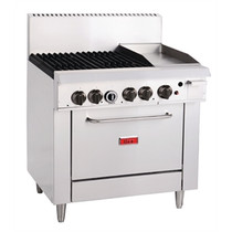 GH102-N Thor 4 Burner Natural Gas Oven with Griddle Plate