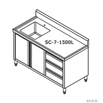 SC-7-1500L-H Kitchen Tidy Cabinet 1500mm Width with Left Sink 700mm Deep