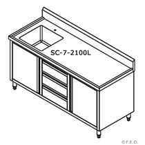 SC-7-2100L-H Kitchen Tidy Cabinet with Left Sink 2100 mm Width