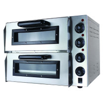 Fast, hot and compact, this eps2 double pizza deck oven has exceptional insulation for perfected cooking with a stone sole, interior lighting, individual controls per deck, balanced oven doors, ideal viewing window and it can reach up to 350 ºC inside. Built to craft and cook the best pizza for ultimate satisfaction.