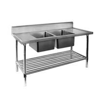 DSB7-2100C/A Double Centre Sink Bench with Pot Undershelf  2100mm Width