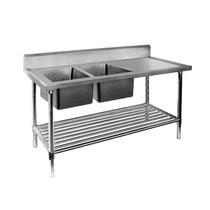DSB7-2400L/A  Double Left Sink Bench with Pot Undershelf 2400mm Wide