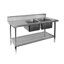 DSB7-2400R/A Double Right Sink Bench with Pot Undershelf 2400mm Width