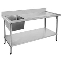 1500-6-SSBL Economic 304 Grade SS Left Single Sink Bench 1500mm W x 600 D x 900 H with 500mm x 400 x 250 sink