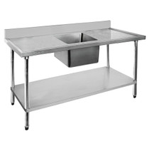 1800-6-SSBC Economic 304 Grade SS Centre Single Sink Bench 1800mm W x 600 D x 900 H with 610mm x 400 x 250 sink