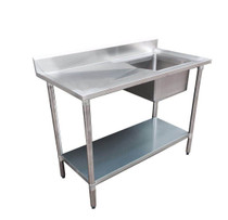 1500-7-SSBR Economic 304 Grade SS Right Single Sink Bench 1500mm W x 700 D x 900 H with 500mm x 400 x 250 sink