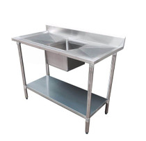 1500-7-SSBC  Economic 304 Grade SS Centre Single Sink Bench 1500mm W x 700 D x 900 H with 500mm x 400 x 250 sink