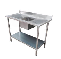1800-7-SSBC Economic 304 Grade SS Centre Single Sink Bench 1800mm W x 700 D x 900 H with 610mm x 400 x 250 sink