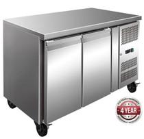 FE2100BT S/S Two Door Bench Freezer 260Ltr - 1360mm Width