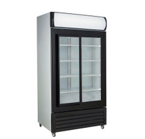 LG-1000SDBG Large Black Sliding Two Glass Door Colourbond Upright Drink Fridge