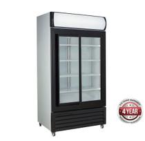 LG-1000SDBG Large Black Sliding Two Glass Door Colourbond Upright Drink Fridge