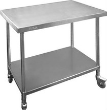 WBM7-1200/A Premium Stainless Steel Mobile Workbench With Castors 700mm Deep 1200mm Width