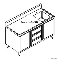 SC-7-1800R-H Kitchen Cabinet with Right Sink 1800mm Width x 700mm Depth