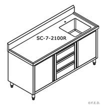 SC-7-2100R-H Kitchen Tidy Cabinet Right Sink 2100mm Width x 700 mm Depth
