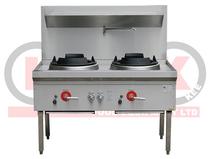 LKK-2BC 2 Burner Waterless Gas Wok Table - Chimney Burner
