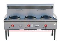 LKK-3BC 3 Burner Waterless Gas Wok Table - Chimney Burner
