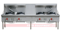 LKK-4BC 4 Burner Waterless Gas Wok Table - Chimney Burner