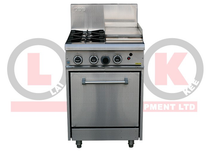 2 Open Burner Cooktop & 300mm RHS Griddle Static Oven Range - LKKOB4C+O