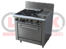 4 Open Burner Cooktop & 300mm RHS Griddle Static Oven Range - LKKOB6C+O
