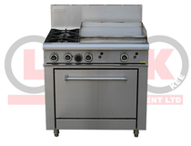 2 Open Burner Cooktop & 600mm RHS Griddle Static Oven Range - LKKOB6B+O