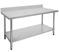 0600-6-WBB Economic 304 Grade Stainless Steel Table with splashback 600mm W x 600 D x 900 H
