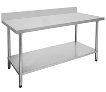 1200-6-WBB Economic 304 Grade Stainless Steel Table with splashback 1200mm W x 600 D x 900 H