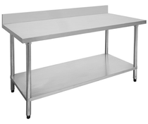 1500-6-WBB Economic 304 Grade Stainless Steel Table with splashback 1500x600x900