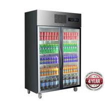 SUFG1000B 1000 Litres Double Glass Door Black Stainless Steel Upright Freezer  1220mm Width