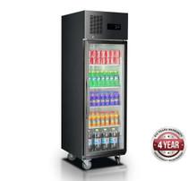 SUFG500B Single Glass Door Upright Freezer Black Stainless Steel 500 Litres