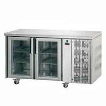 Mastercool 2 Glass Door Stainless Steel Counter Fridge TF02MIDPV