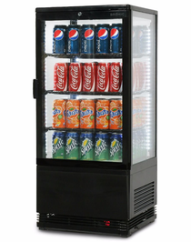 Flat Glass 78L LED Countertop Beverage Chiller - CT0080G4B