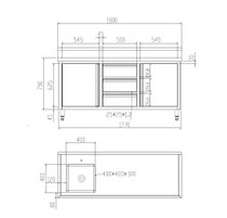 SC-6-1800L-H Cabinet with Left Sink 1800mm Width