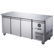 FED-X Stainless Steel Three Door Bench Fridge - XUB7C18S3V