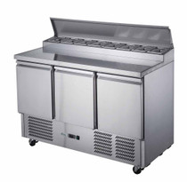 FED-X Three Door Salad Prep Fridge 392L 1368mm Width  - XGNS1300D