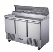 XGNS1300D FED-X Three Door Salad Prep Fridge 392L 1368mm Width