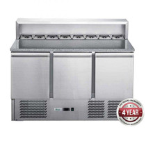 XGNS1300E FED-X Three Door Salad Prep Fridge with Marble Top Net Capacity: 402L 1368mm Width