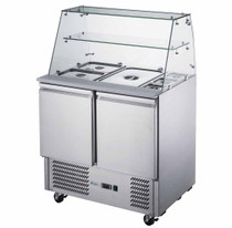 FED-X Two Door Salad Prep Fridge with Square Glass Top 240L 903mm Width- XS900GC
