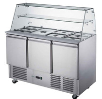 FED-X Three Door Salad Prep Fridge with Square Glass Top Net Capacity: 368L 1368mm Width  - XS903GC