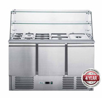 XS903GC FED-X Three Door Salad Prep Fridge with Square Glass Top Net Capacity: 368L 1368mm Width