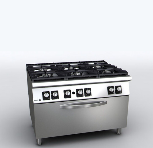 C-G961OPH Fagor 900 Series Gas 6 Burner with Gas Oven 1200mm Width