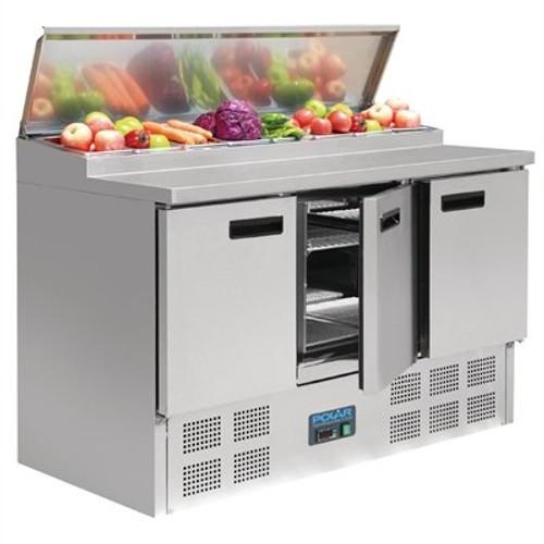 G605-A Polar G-Series 3 Door Salad & Pizza Prep Counter Stainless Steel 390Ltr